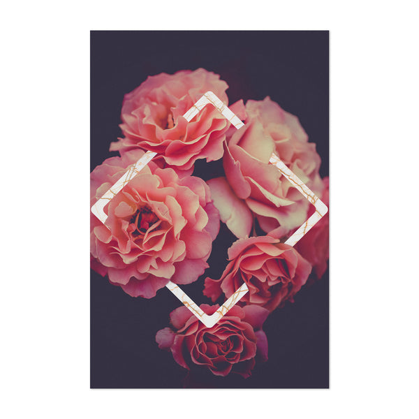 Roses Geometric Marble Digital Art Print