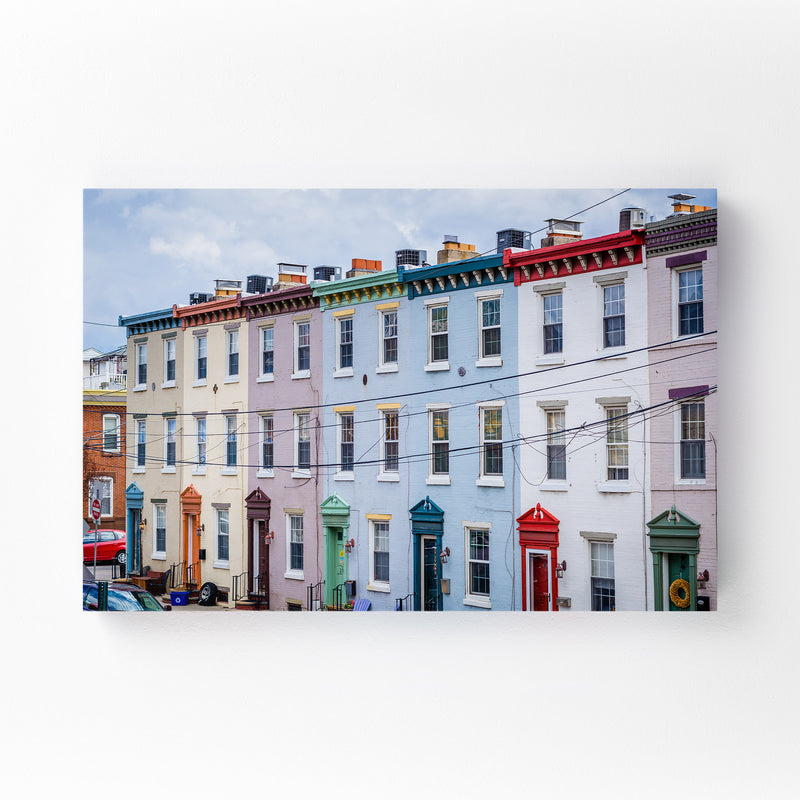 Colorful Houses Philadelphia Canvas Art Print
