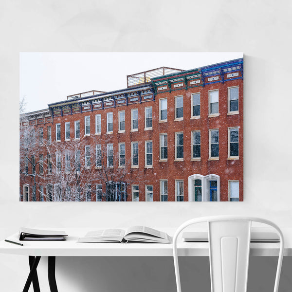 Baltimore Row Houses Snow Winter Art Print