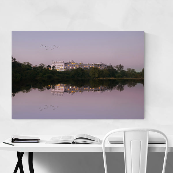 Lake Reflecting Palace Trees Art Print