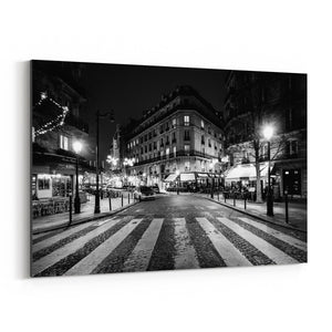 Paris France Cobblestone Street Canvas Art Print