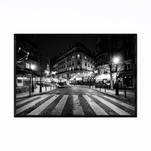 Paris France Cobblestone Street Framed Art Print