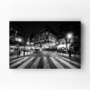 Paris France Cobblestone Street Mounted Art Print