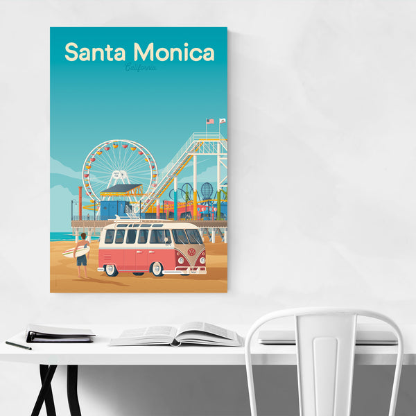 Retro Santa Monica Travel Print Art Print