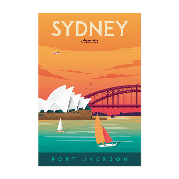 Retro Sydney Travel Print Art Print