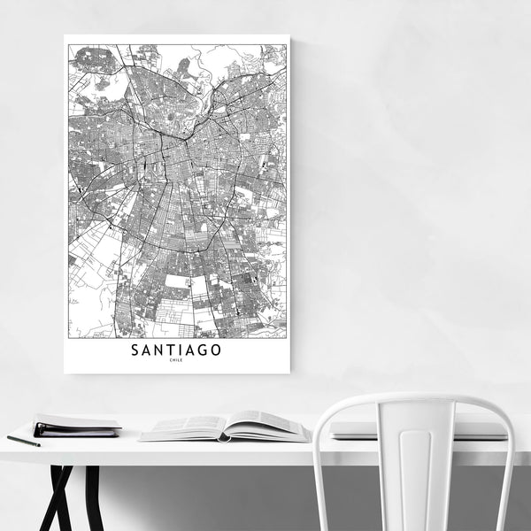 Santiago Black & White City Map Art Print