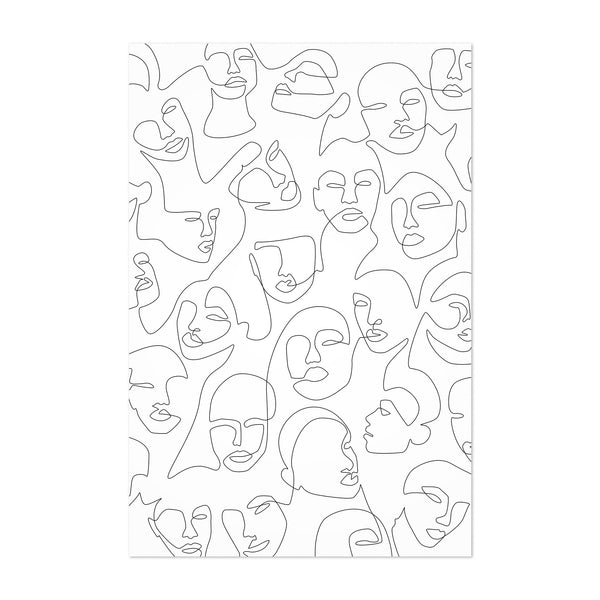 Minimal Female Face Line Drawing Art Print