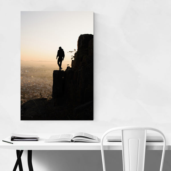 Hiking Mountain Cityscape Art Print