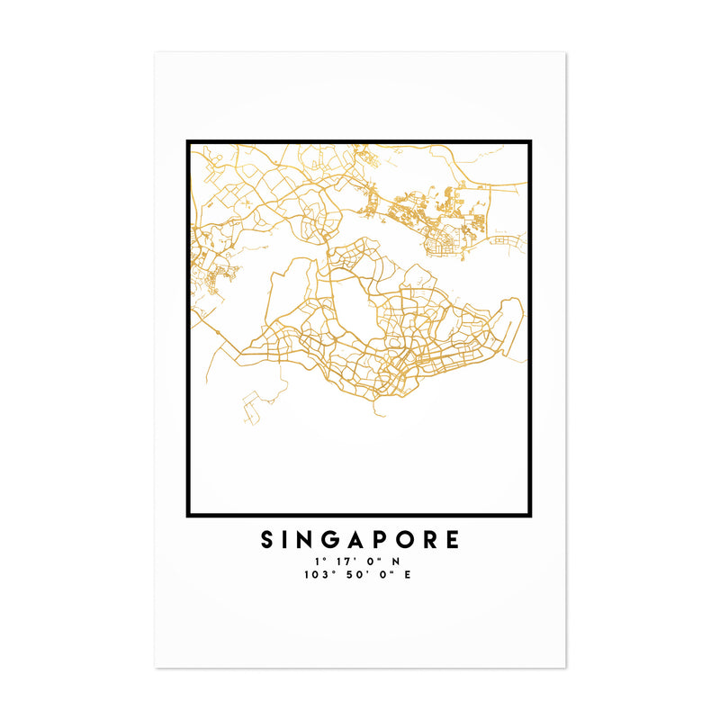 Minimal Singapore City Map Art Print
