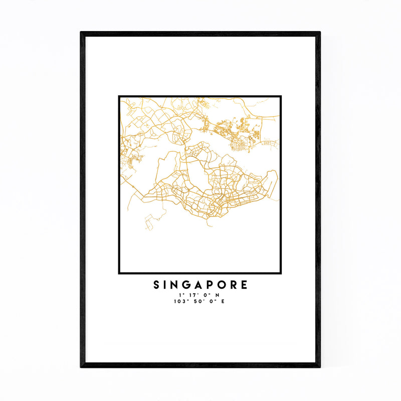 Minimal Singapore City Map Framed Art Print