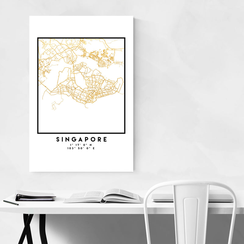 Minimal Singapore City Map Metal Art Print