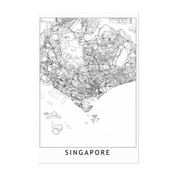 Singapore Black & White City Map Art Print