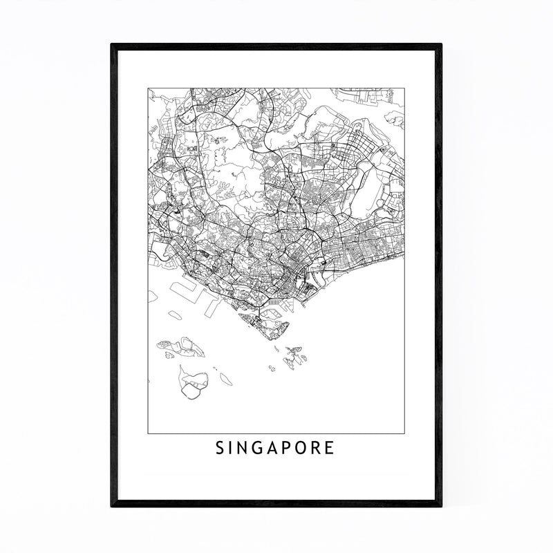 Singapore Black & White City Map Framed Art Print