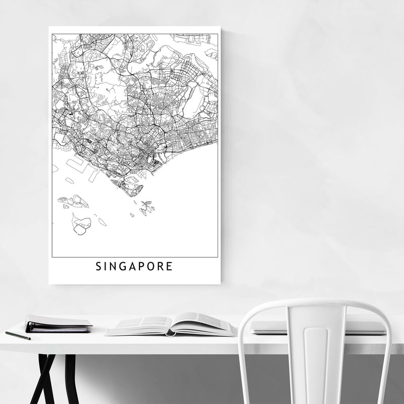 Singapore Black & White City Map Metal Art Print