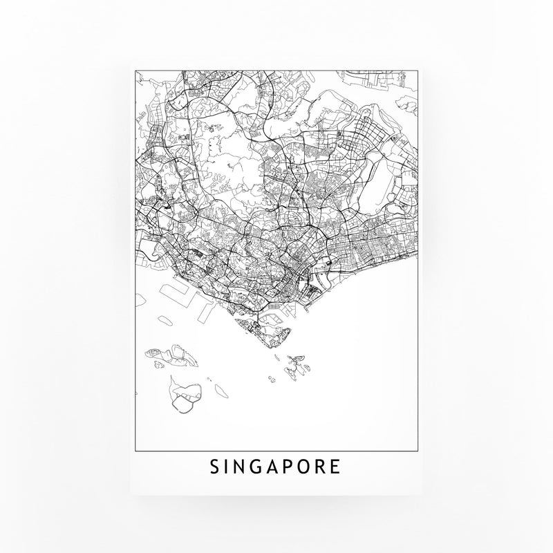 Singapore Black & White City Map Canvas Art Print