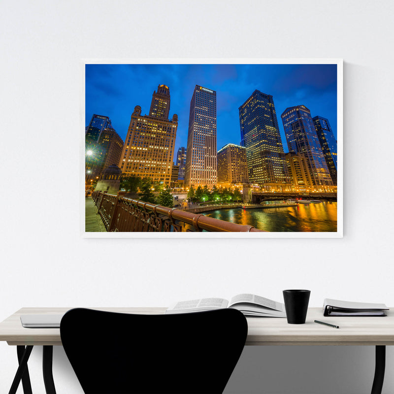 Chicago Skyline Cityscape Photo Framed Art Print