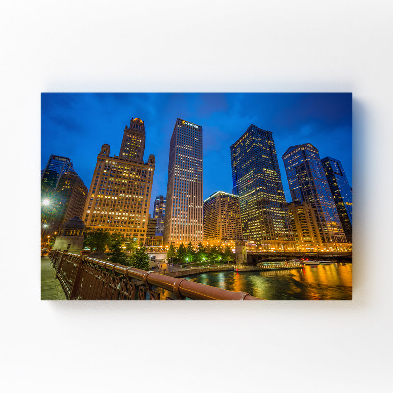 Chicago Skyline Cityscape Photo Mounted Art Print