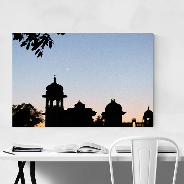 Library India Sunset Moon Art Print