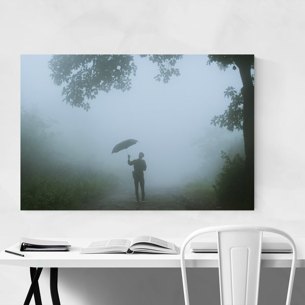 Rain Fog Umbrella Trees Art Print