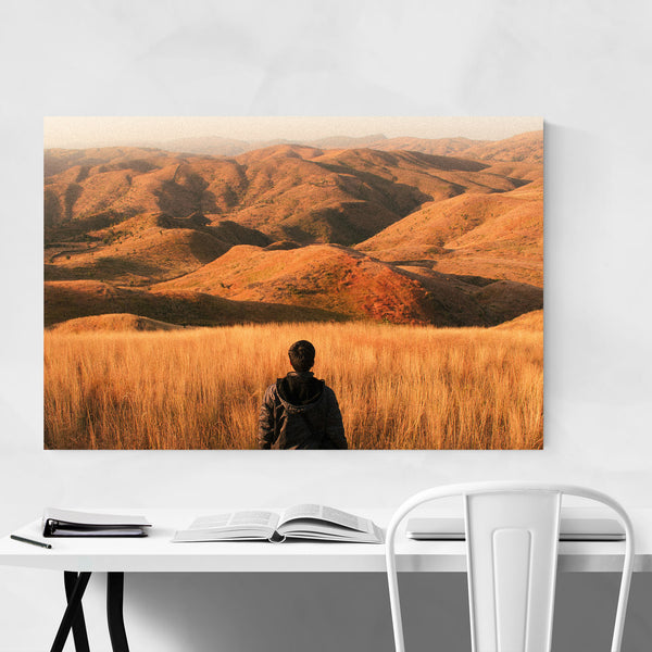Mountains Sunset Man Hiking Art Print