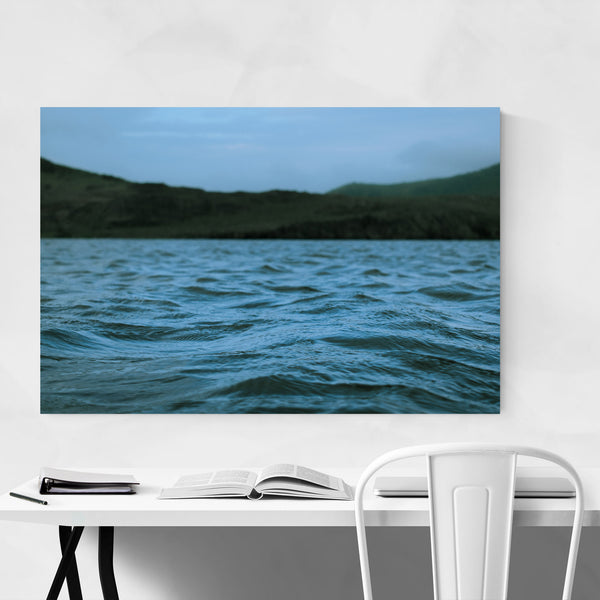 Lake Mountains Foggy Waves Art Print