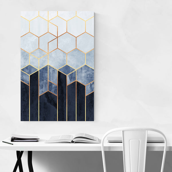 Abstract Art Deco Geometric Blue Art Print