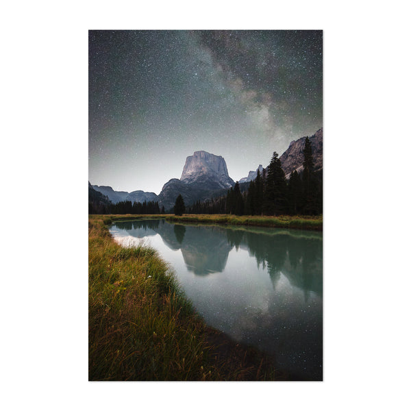 Milky Way Night Sky Mountains Art Print