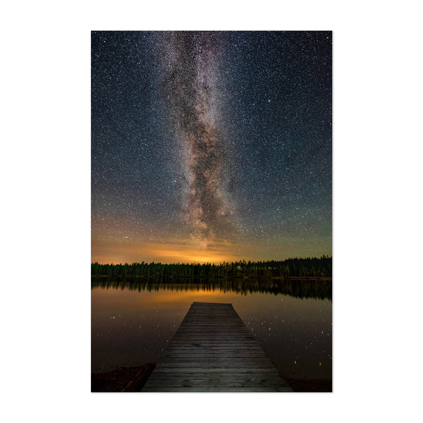 Milky Way Lake Dock Sweden Art Print