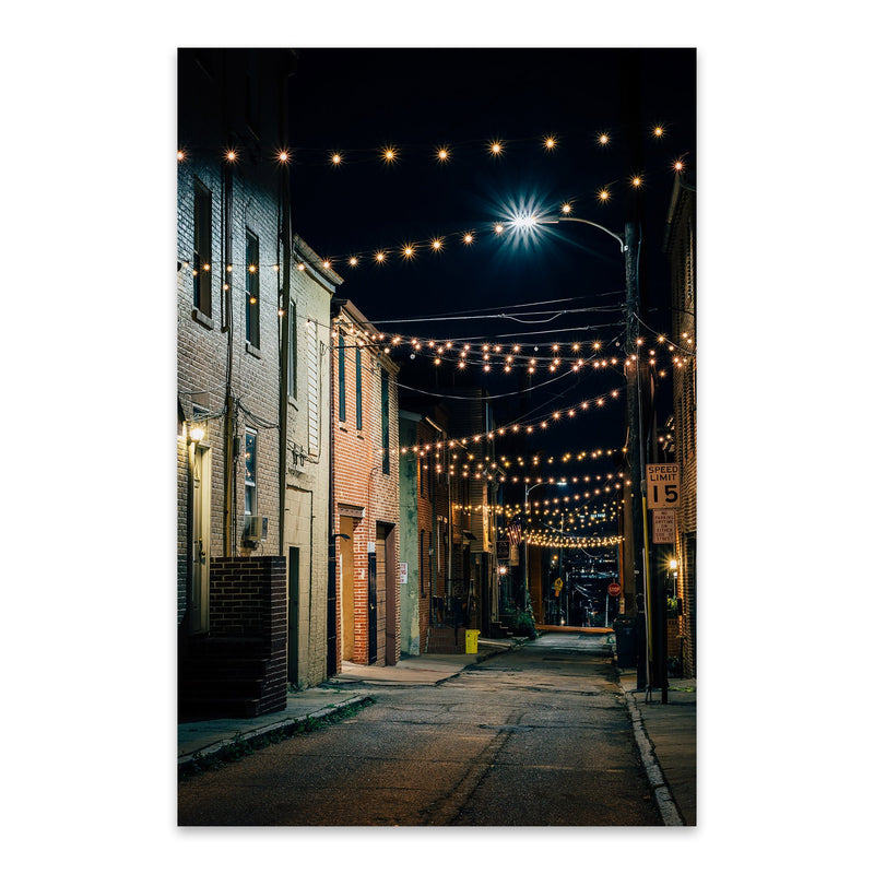 Baltimore String Lights Street Metal Art Print
