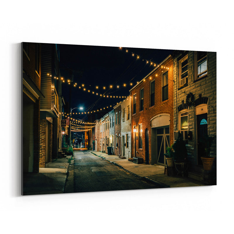 Baltimore String Lights Street Canvas Art Print