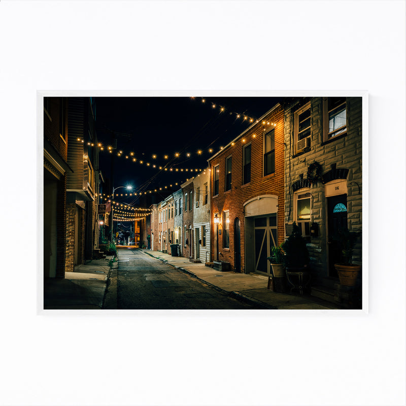 Baltimore String Lights Street Framed Art Print
