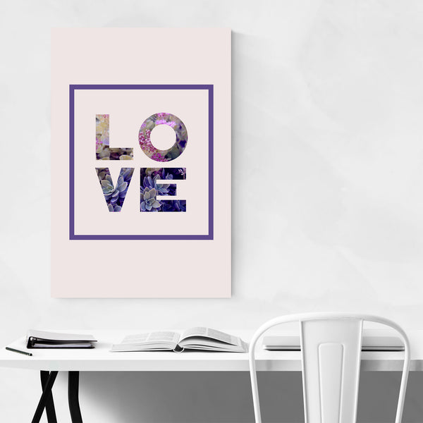 LOVE Sign Floral Typography Art Print