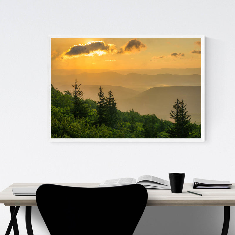 Mountains Sunrise Landscape Framed Art Print
