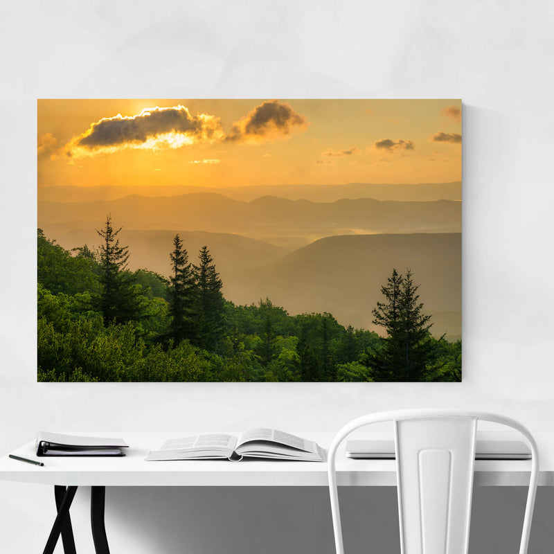 Mountains Sunrise Landscape Art Print