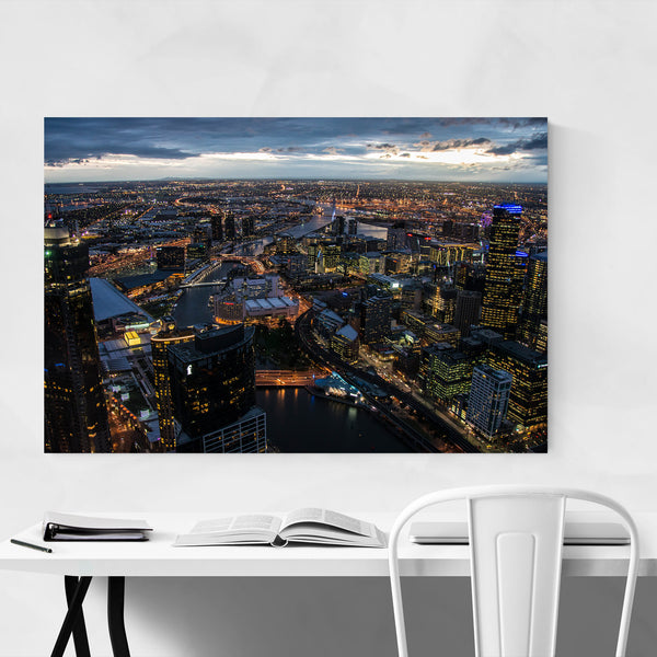 Melbourne Australia City Skyline Art Print