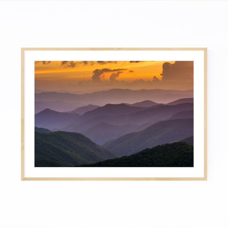 Blue Ridge Mountains Sunset View Framed Art Print