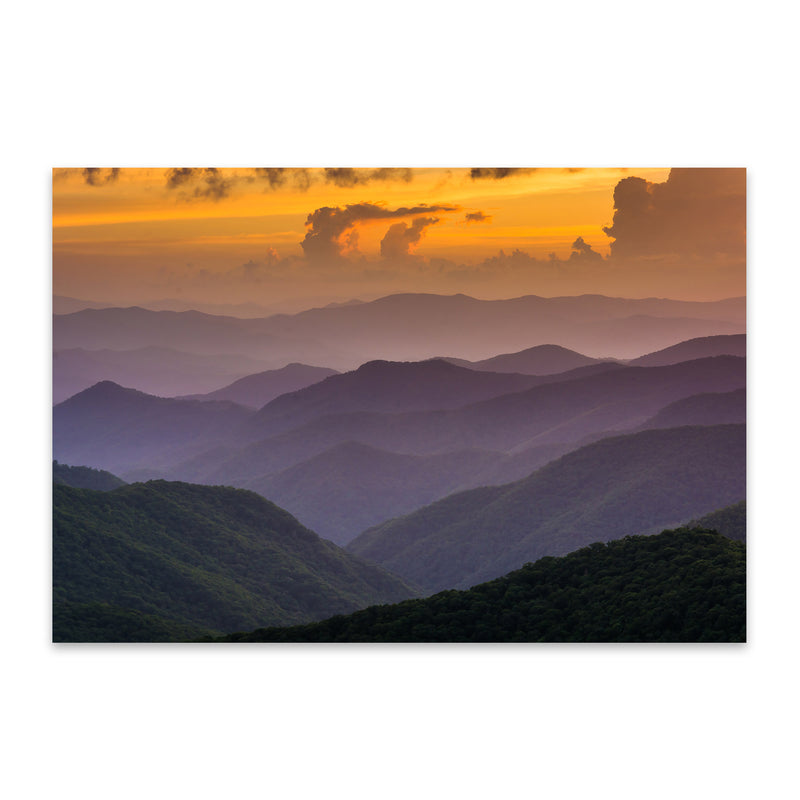 Blue Ridge Mountains Sunset View Metal Art Print