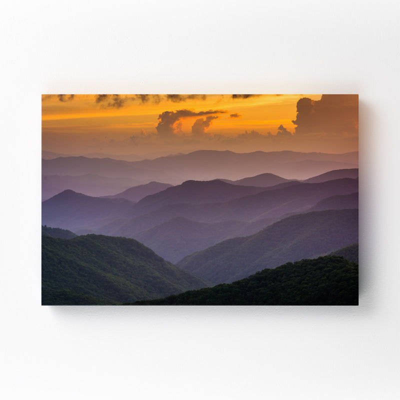 Blue Ridge Mountains Sunset View Canvas Art Print