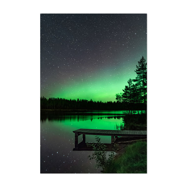 Aurora Borealis Lake Night Sky Art Print