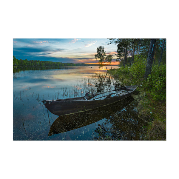 Old Boat Sunset Lake Sweden Art Print