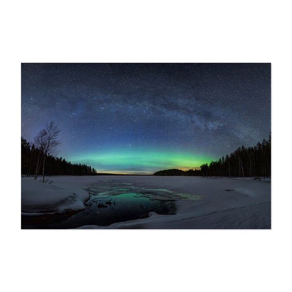 Aurora Borealis Milky Way Lake Art Print