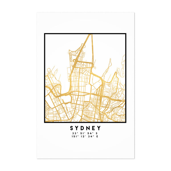 Minimal Sydney City Map Art Print