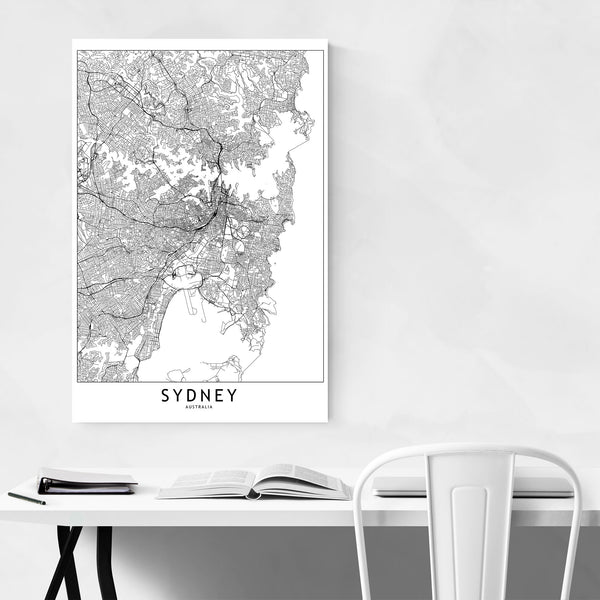 Sydney Black & White City Map Art Print