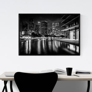 Los Angeles Skyline at Night Framed Art Print