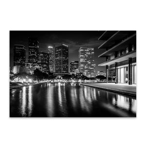 Los Angeles Skyline at Night Metal Art Print