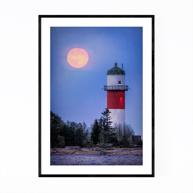 Umeå Sweden Lighthouse Moon Framed Art Print