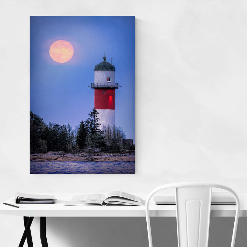 Umeå Sweden Lighthouse Moon Metal Art Print