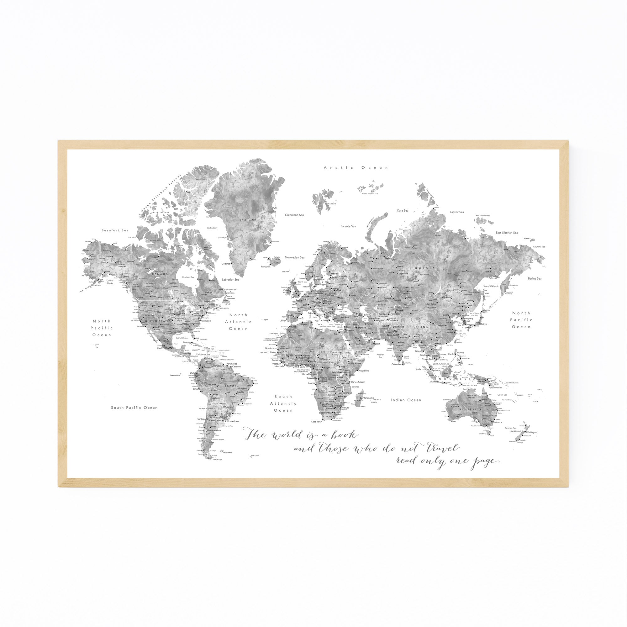Inspiration Watercolor World Map Print, Canvas, Metal, Framed Wall on