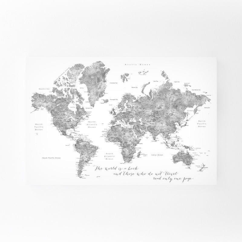 Inspiration Watercolor World Map Canvas Art Print