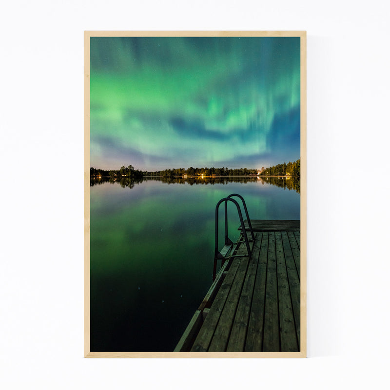 Aurora Borealis Lake Sweden Framed Art Print